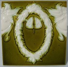 YELLOW-OLIVE antique tile c1900 Germany Villeroy & Boch High relief Art Nouveau