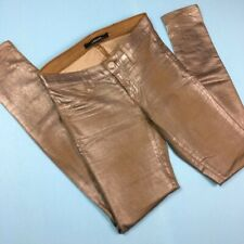 J Brand Metallic Skinny Jeans Coated Western Taupe Size 0
