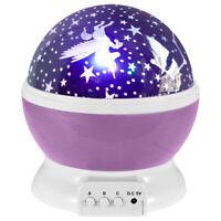 Rotierende USB LED Nachtlicht Stern Projektor Batterie Kind Schlafzimmer Lampe (