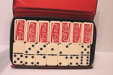 Coca Cola Double-Six Spinning Dominoes with Metal Pin Center in Storage Case