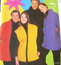 EASY Mens Womens unisex FLEECE cardigan vest pattern sz  S M