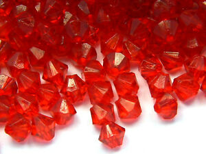 Lot of 700 Little 4mm Plastic Acrylic Double Cone Faceted Bicone Beads