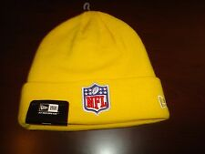 NFL LOGO SHIELD YELLOW NEW ERA RETRO  WINTER TOBOGGAN BEANIE SKULL KNIT HAT CAP