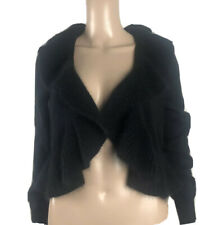 WHITE HOUSE BLACK MARKET  Brand New  Wool Blend Black Bolero Sweater W/Ruffle