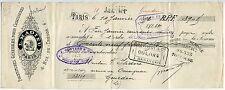 TRAITE 1892 FOURNITURE POUR CHAUSSURE L MADIEU  PARIS  CACHET  FISCAL