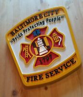 Fire Department Baltimore City 3D routed wood patch plaque sign Custom