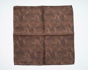 Battisti Brown Tonal Floral Abstract 100% Silk Face Designer Pocket Square