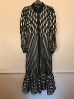 BNWT ZARA BLACK AND GOLD MIDI SHIRT DRESS SIZE XS