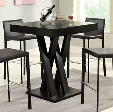 Modern High Kitchen Table contemporary dining bar table wood pedestal cappuccino dinner