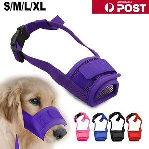 Adjustable Pet Dog Mask Bark Bite Mesh Mouth Muzzle Grooming AntiStop Chewing AU