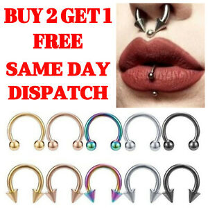 Horseshoe Piercing Barbell Ring Surgical Steel Tragus Nose Septum Ear Nipple