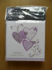 36 WEDDING EVENING INVITATION CARDS with white envelopes~LILAC HEARTS
