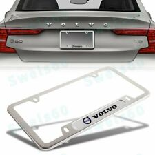 For VOLVO Silver New 1PCS Stainless Steel Metal License Plate Frame
