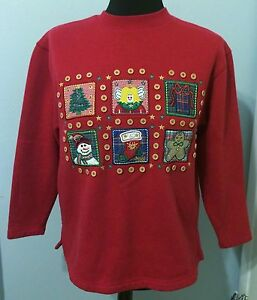 Westbound Petites UGLY Country CHRISTMAS SWEATSHIRT Size PS Gingham Buttons
