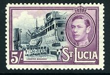 ST LUCIA-1938-48  5/- Black & Mauve Sg 137 MOUNTED MINT V13513
