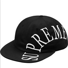 BRAND NEW SUPREME  6 PANEL BLACK / WHITE HAT RARE SOLD OUT ADJUSTABLE BUCKLE