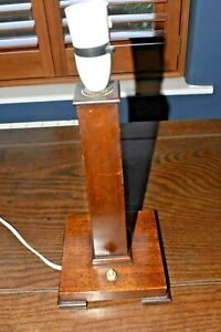 Vintage Wooden Art Deco  Lamp Square Base - working order
