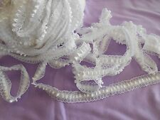 "BULK satin ribbon tufted lace white etched daisies 40 yds x 1"" wide"
