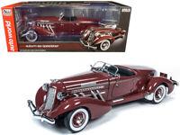 1935 Auburn 851 Speedster Plum Burgundy 1/18 Diecast Model Car by Autoworld