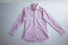 THOM BROWNE Pink Checkered Stripe Shirt Button Down size 0 XSmall XS
