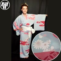 "Woman's Kimono Vintage Japanese Semi Formal Silk Robe ""Raspberry Fog"""