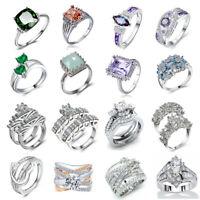 Elegant 925 Sterling Silver White Sapphire Gemstone Rings Wedding Women Jewelry