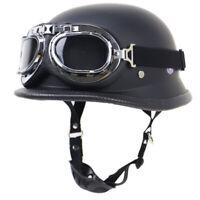 DOT German Motorcycle Half Helmet w/Goggles Skull Cap for Chopper Scooter L