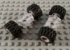 Lego Pair of Light Bluish Gray 2x2 Wide Car Truck Vehicle Axle Plates with Tires