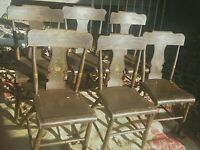 6 antique decoratively painted original Hitchcock chairs brown