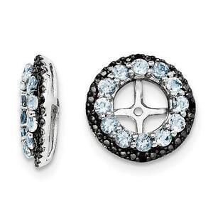 Platinum Sterling Silver Black Sapphire Aquamarine Halo Earring Jackets For Stud