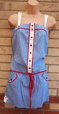 MANGO BLUE WHITE RED NAUTICAL SAILOR BELTED A LINE LONG TOP BLOUSE TUNIC DRESS S