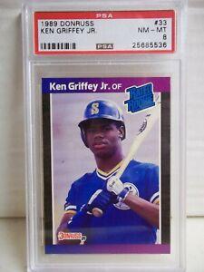 1989 Donruss Ken Griffey Jr Rookie PSA NM-MT 8 Card #33 MLB HOF Seattle Mariners
