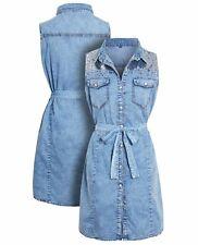 Womens Denim Shirt Dress Cotton Blue Sequin Dresses Size 14 10 12 16 8 New