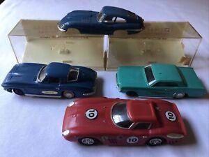 Vintage 60s Ideal Motorific Slot Car Lot w/Boxes Ferrari GT Mustang Corvette Jag