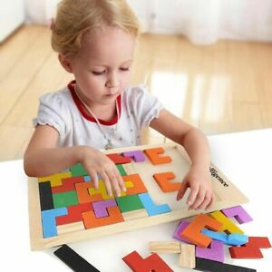 Colorful Puzzle 3D Wooden Tetris Game Intellectual Educational Toy for Kids