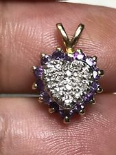 Petite 14k Yellow Gold Amethyst Diamond Heart Pendant 2.1 Grams