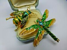 Insect dragonfly bee brooch lot 2 vintage style green enamel rhinestone pins