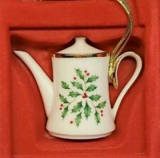 Lenox Holiday Coffee Pot Holly Christmas Ornament New in box