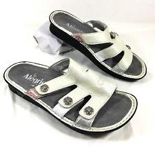 Alegria VENICE Reptile Embossed White leather Sandals Slides Sz 37 US 6.5-7