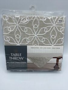 Table Throw Embroidered 50 in X 50 in Soft Linen Blend Beige New