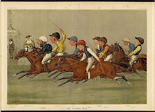 VANITY FAIR HORSE RACING COLOR LITHOGRAPH THE WINNING POST JOCKEY SADDLE WHIP