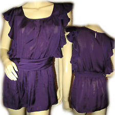 Purple Ruffle Cap Sleeve TOP Blouse Womens Fancy Going Out Long Tops Party M