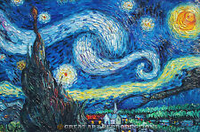 """Starry Night"" Van Gogh, Reproduction in Oil, 36""x29"""