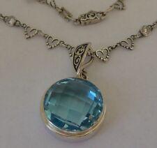 "Vintage Sterling Pendant Fancy Cut Blue Topaz, handcrafted 16"" chain Konder #203"