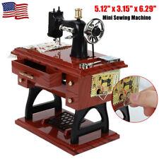 Vintage Mini Sewing Machine Shape Music Box Mechanical Table Home Decor Gift US