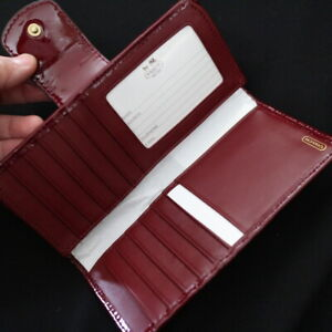 NWT COACH Red Crimson Patent Leather Slim Skinny Travel ID Wallet NEW $148