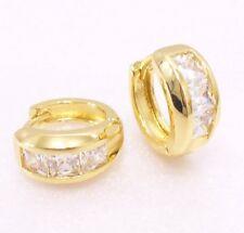 Women Simulated Diamond Wide Huggie Hoop Earrings 14K Yellow Gold Plated 14mm UK