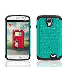LG F70 Access LTE L31G L31L Hybrid Lattice Studded Diamond Case Skin Cover