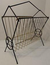 VTG WIRE METAL BLACK AND GOLD MAGAZINE LP RACK RETRO ATOMIC EAMES MID CENTURY