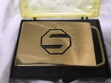 """Vintage Solid Brass SUPER HERO Block """"S"""" Belt Buckle  NEW  3"""" x 2"""""""